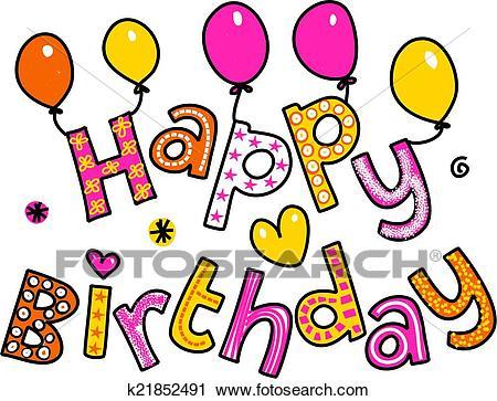 Happy Birthday Cartoon Text Clipart Clip Art.