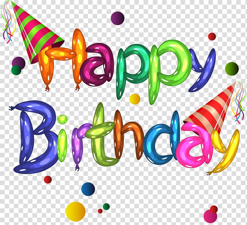 Happy Birthday transparent background PNG clipart.