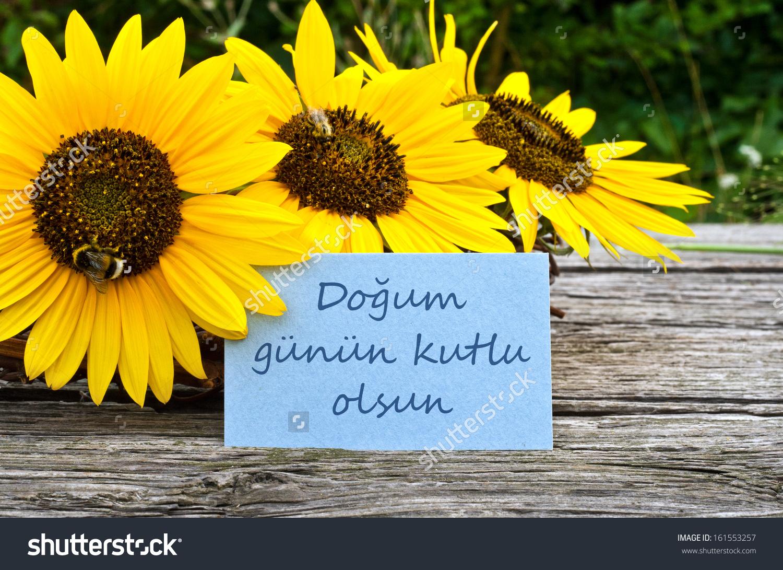 Sunflowers Birthday Cardhappy Birthdayturkish Stock Photo.