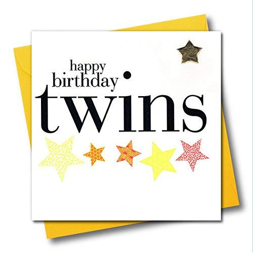 Claire Giles Hearts and Stars Happy Birthday Twins Card.