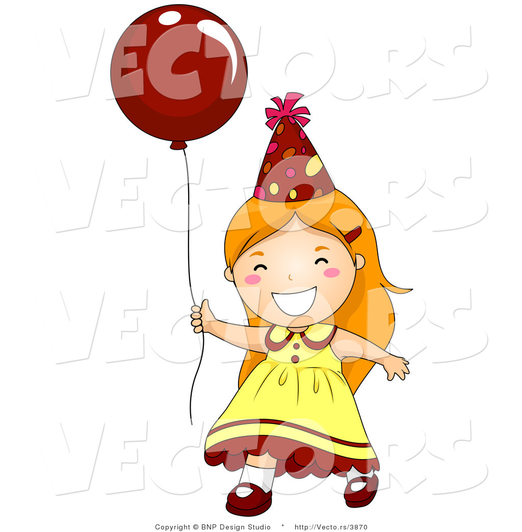 Vector of Happy Birthday Girl Running with Red Balloon by BNP.