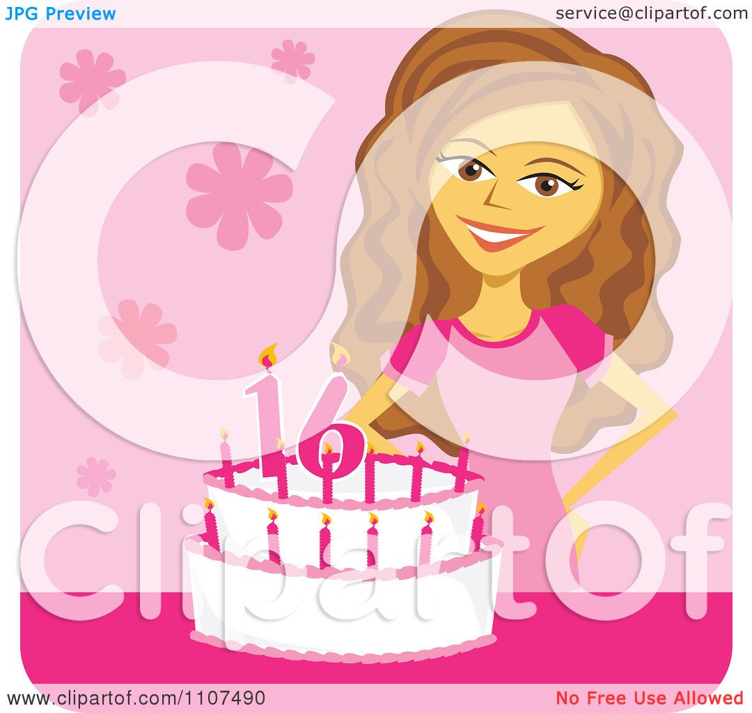 Clipart Happy Birthday Girl By Her Sweet 16 Cake Over Pink.