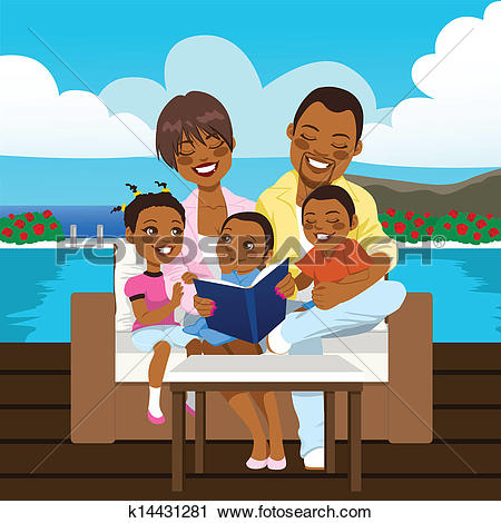 Clipart of African American Grandparents With Grandchildren.