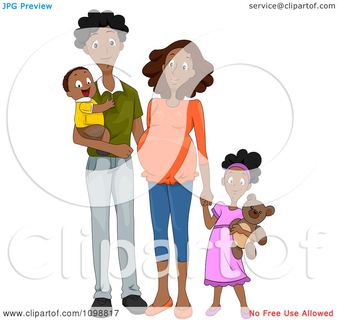 Clipart Happy Black Family With A Pregnant Mommy Holding Hands.