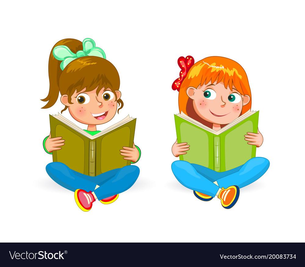 Two little happy girls read books.