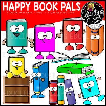 Happy Book Pals Clip Art Set {Educlips Clipart}.