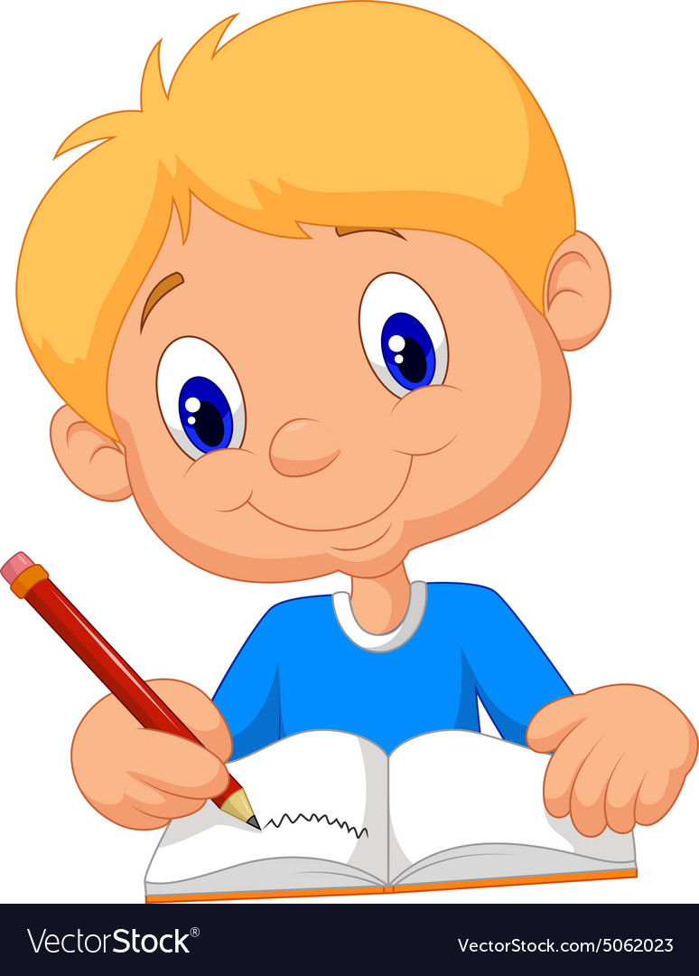 Happy boy writing in a book.
