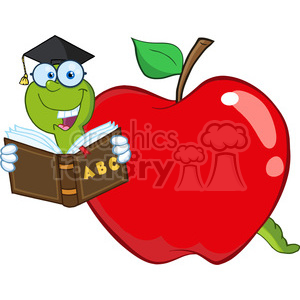 6243 Royalty Free Clip Art Happy Worm In Red Apple Reading A School Book  clipart. Royalty.