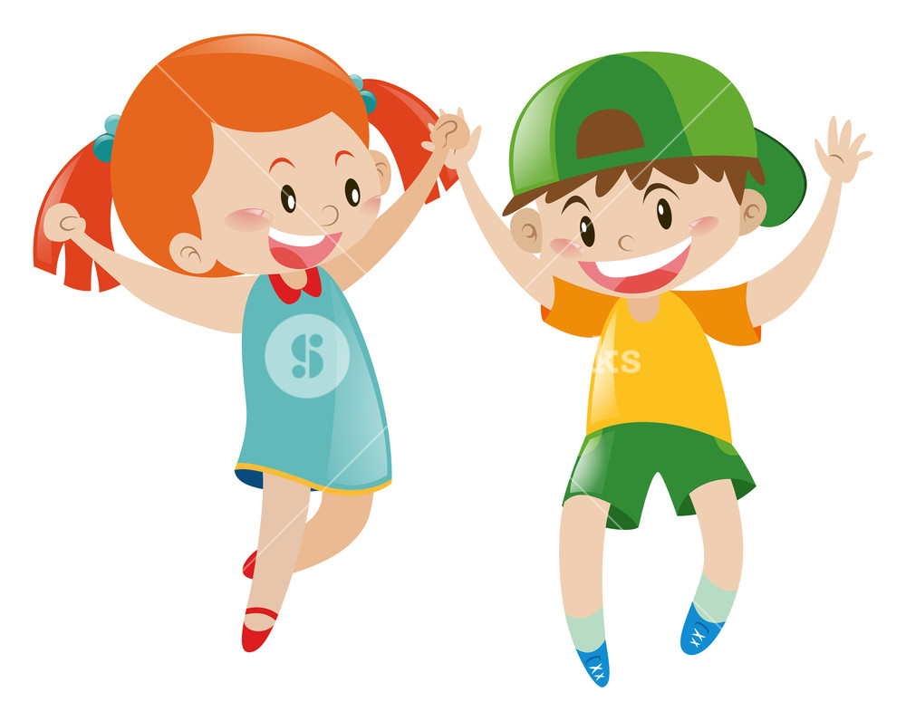 Happy Boy And Girl Clipart.