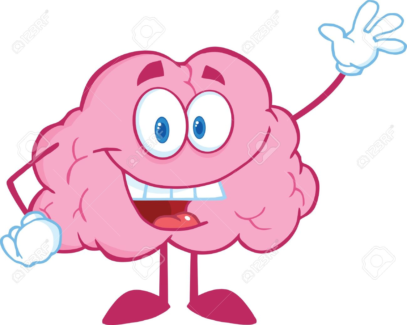 Happy Brain Cartoon Character Waving For Greeting.