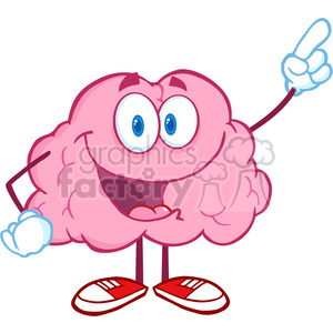 5864 Royalty Free Clip Art Happy Brain Character Pointing With A Finger  clipart. Royalty.