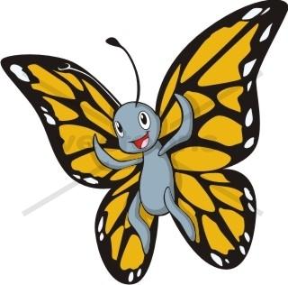 Cute Happy Butterfly Cartoon.