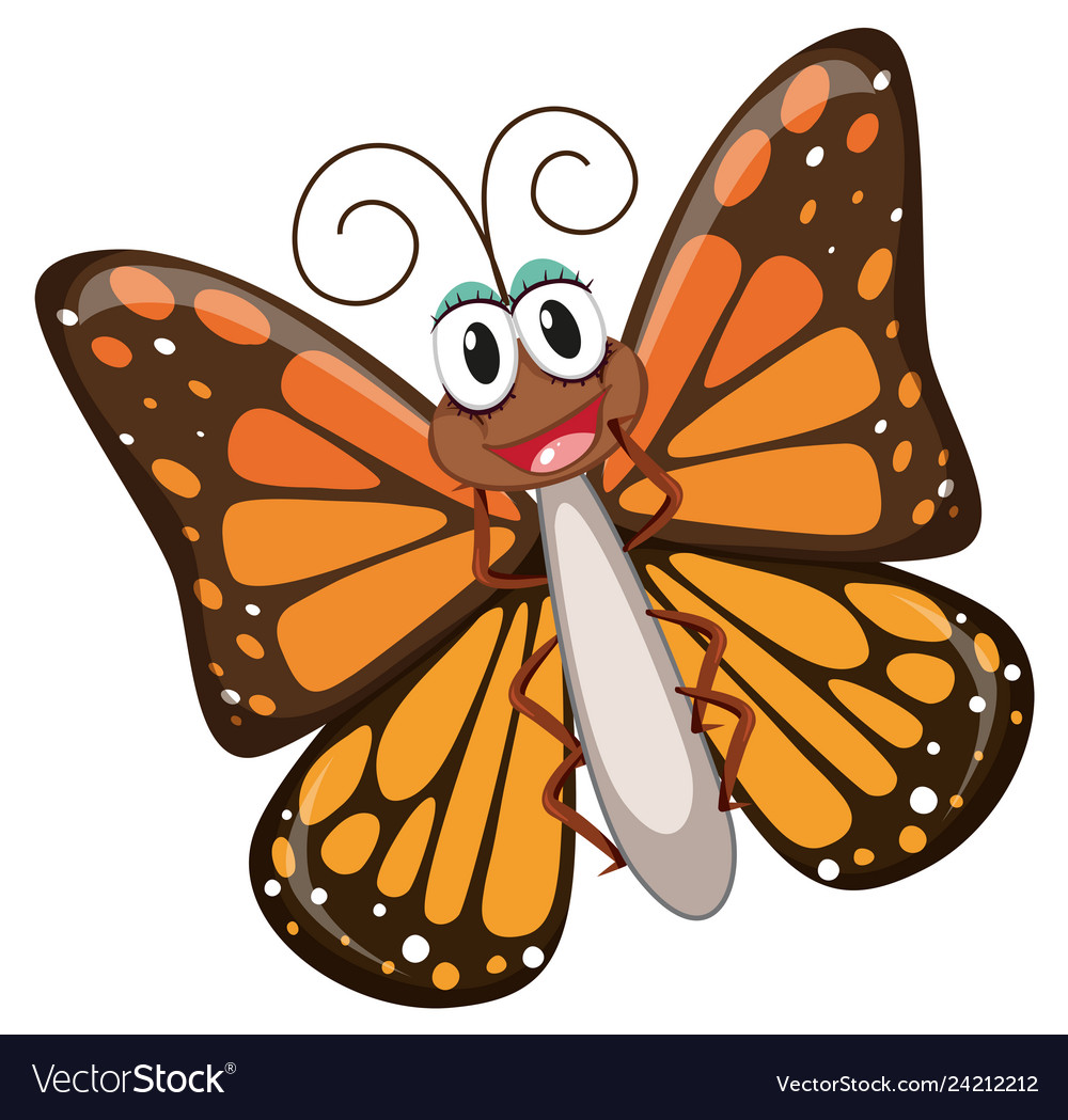 A happy butterfly character.