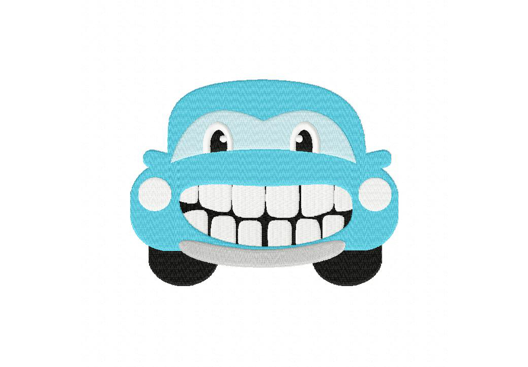 Happy Car Machine Embroidery Design.
