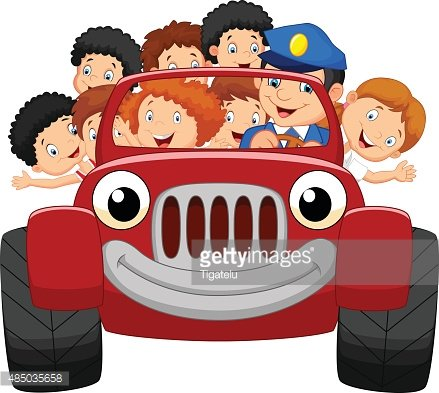 Cartoon little kid happy with red car Clipart Image.