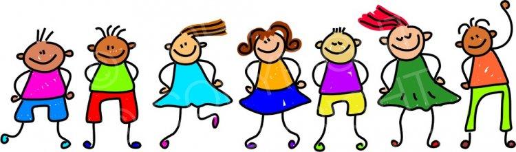 Happy Cartoon Seven Kids Toddler Art Prawny Clip Art.