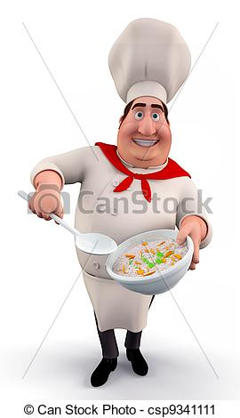 Clipart of Chef with noodle pot.