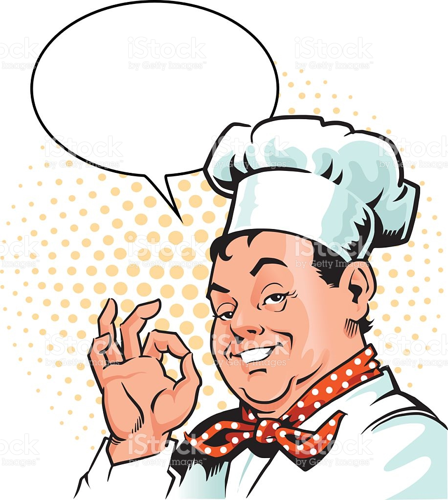 Happy Chef Approving Gesture With Speech Bubble stock vector art.