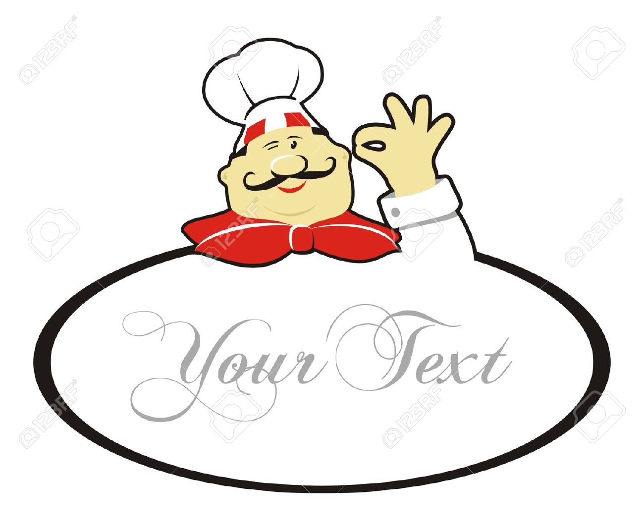 Happy Chef Doing Okay Gesture And Text Royalty Free Cliparts.