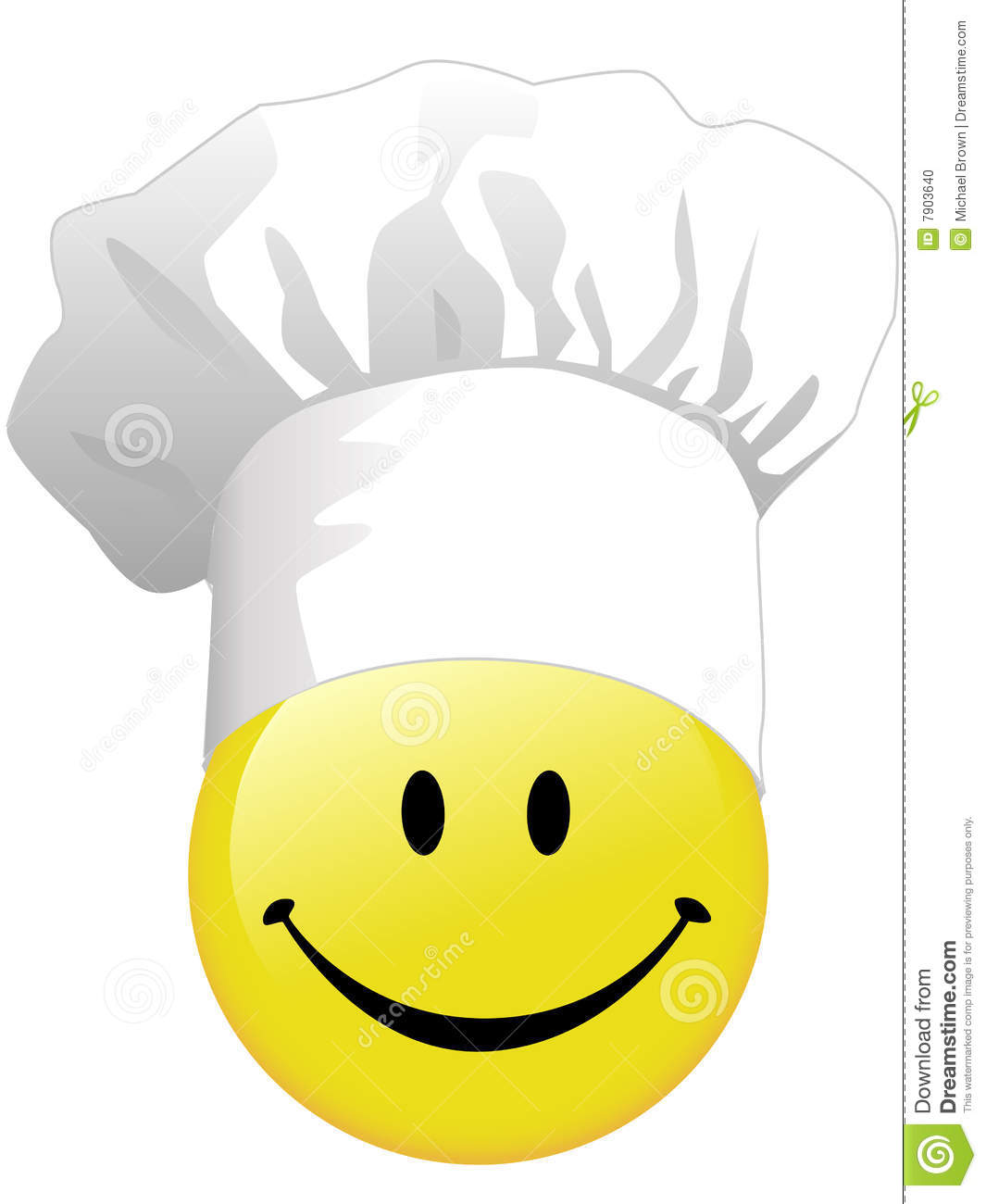 Joy Of Smiley Face Cooking In Happy Chef Hat Stock Photo.