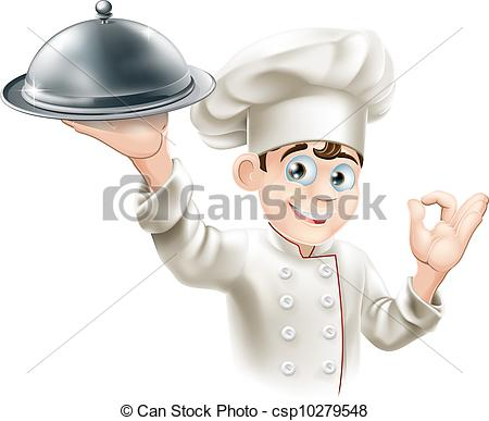 EPS Vector of Happy chef holding platter.