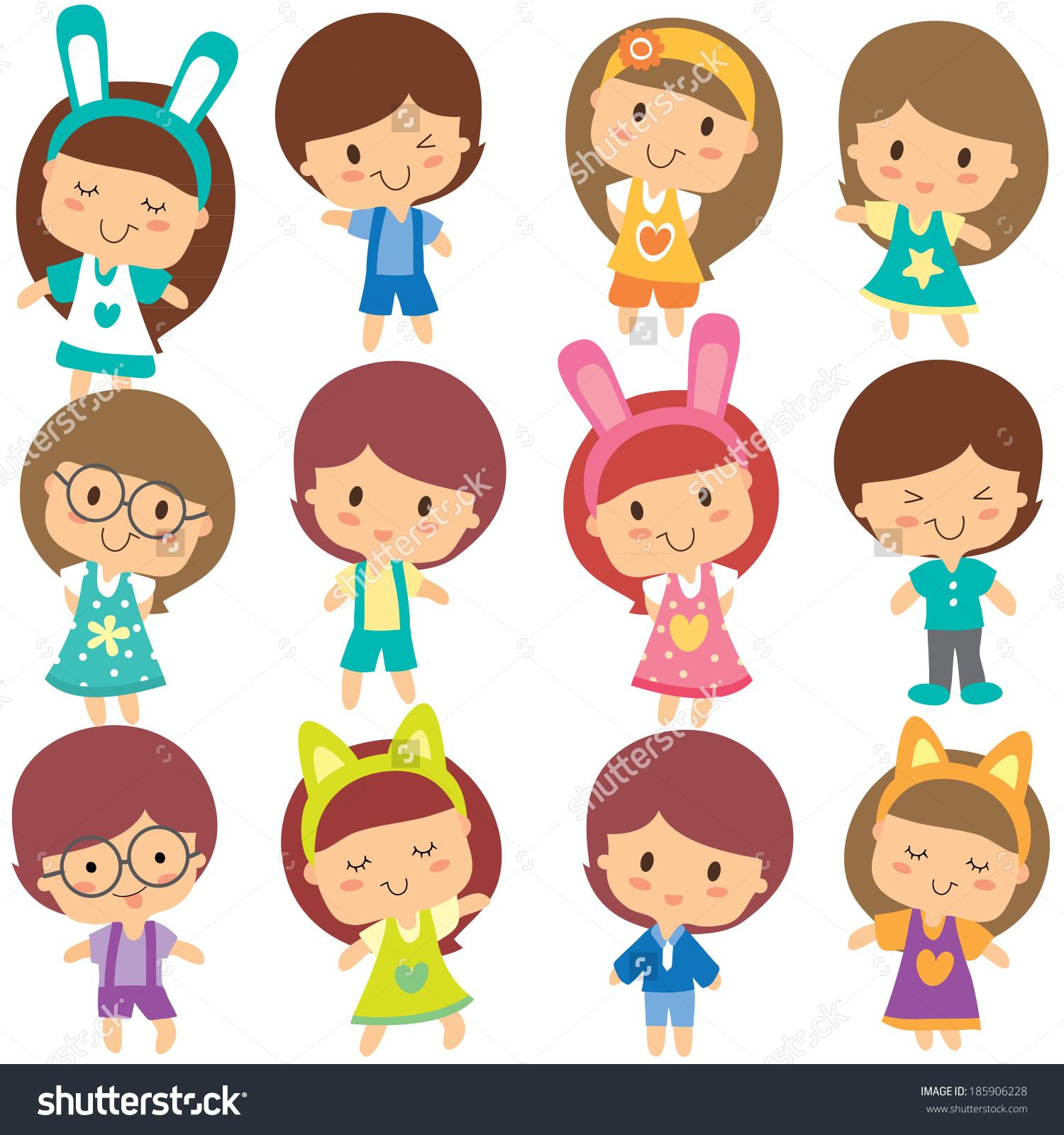 Happy Children Clip Art Set Stock Vector 185906228.