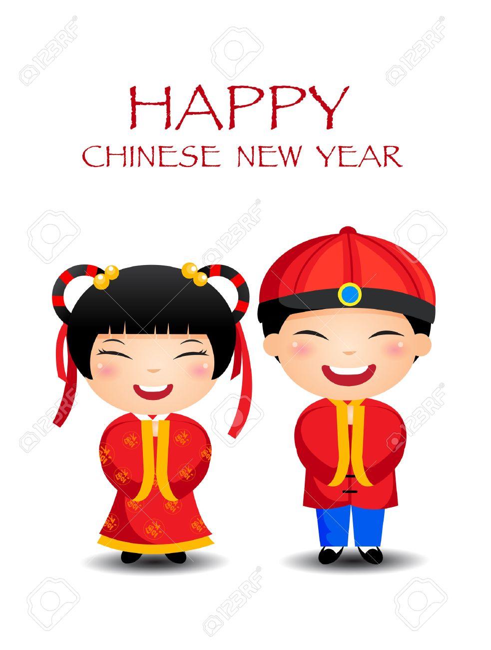 Cartoon Chinese Kids Boy Girl, happy chinese New Year.