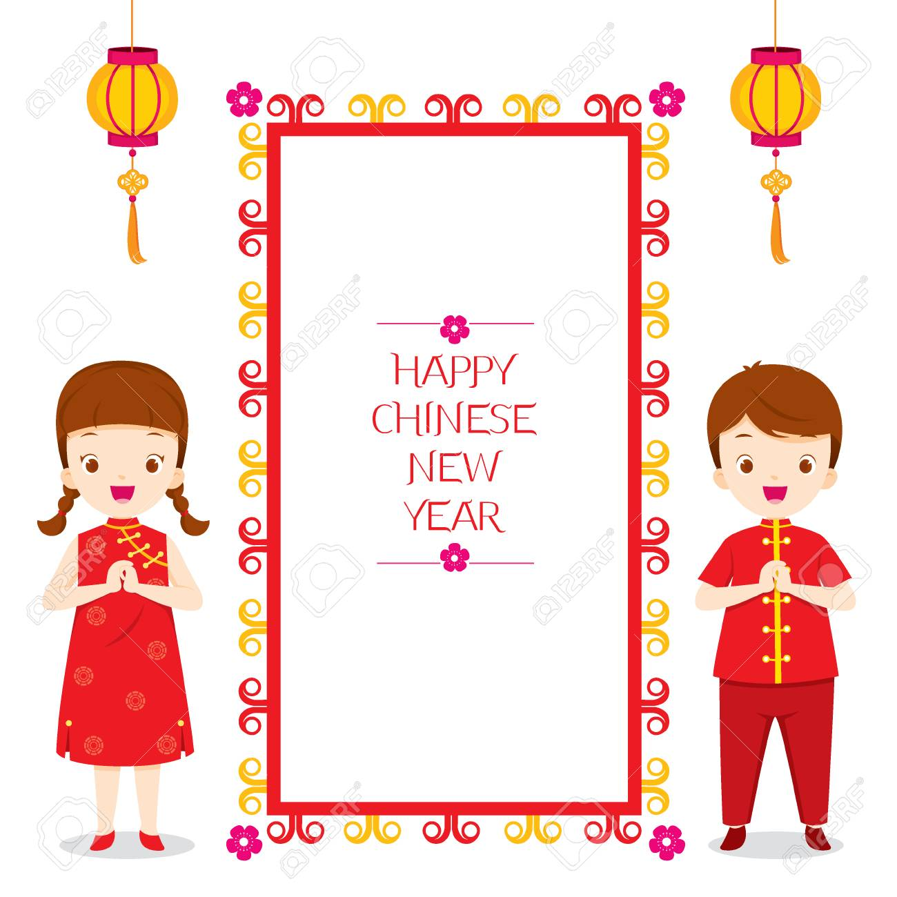 Happy Chinese New Year Frame With Children, Traditional Celebration,...