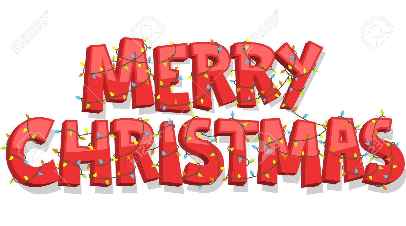 Merry Christmas Banner Sign, vector illustration cartoon..