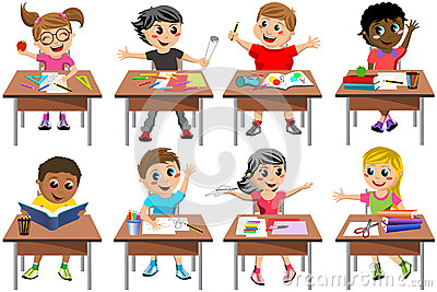 School Children Cartoon In Classroom At Lesson Stock Vector.
