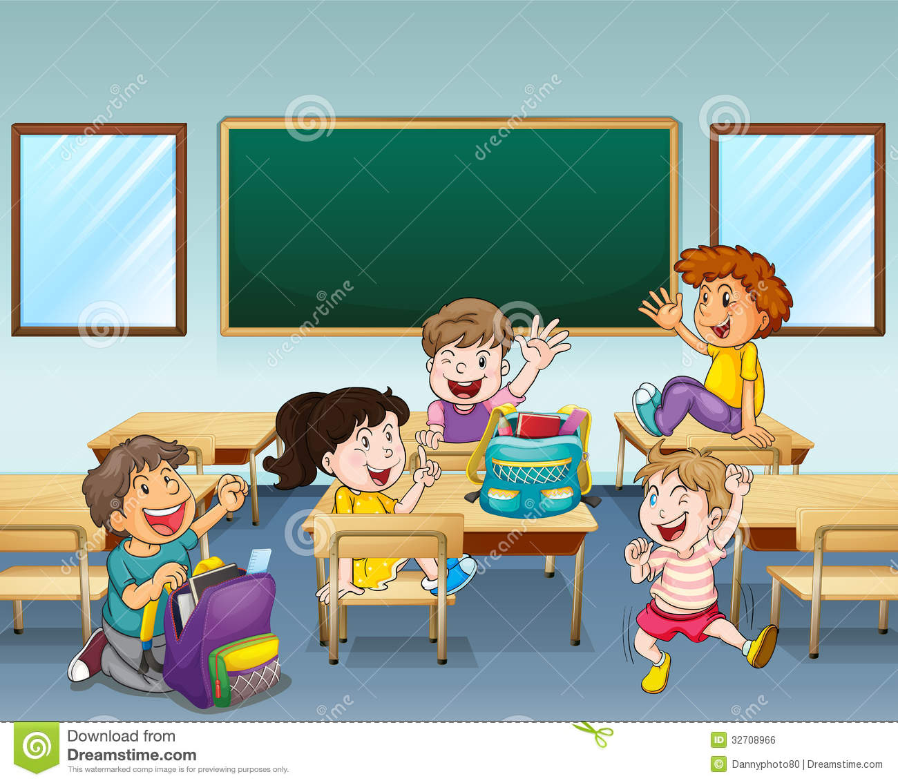 Happy Students Inside A Classroom Royalty Free Stock Image.