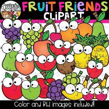 Fruit Friends Clipart {Happy Fruit Clipart}.