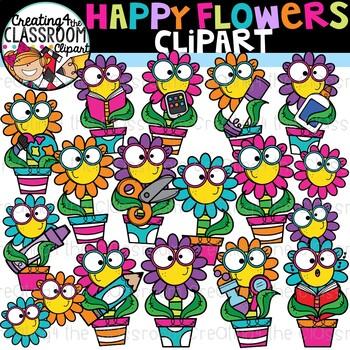 Happy Flowers Clipart {School Clipart}.