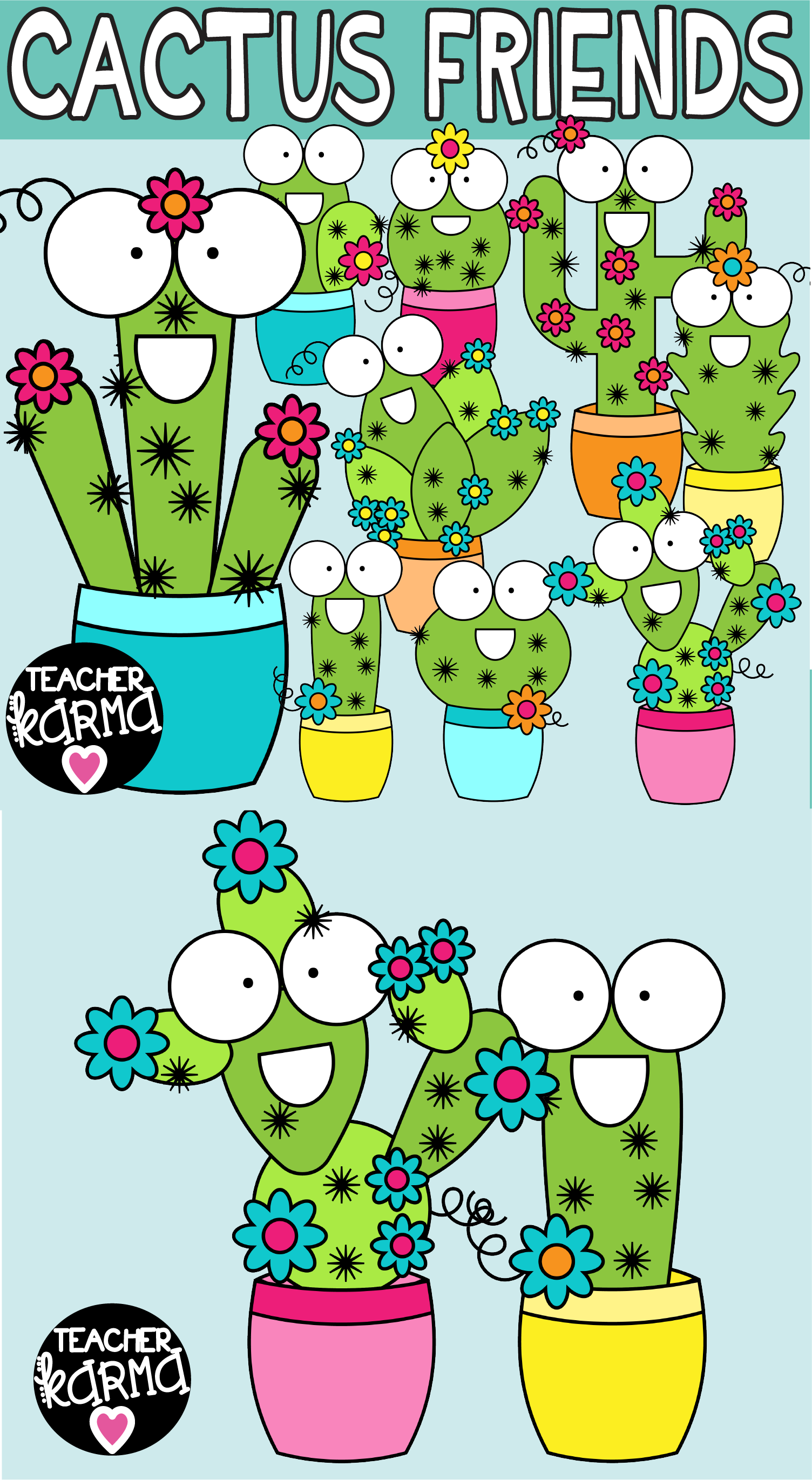 Cactus Clipart, Happy Friends.
