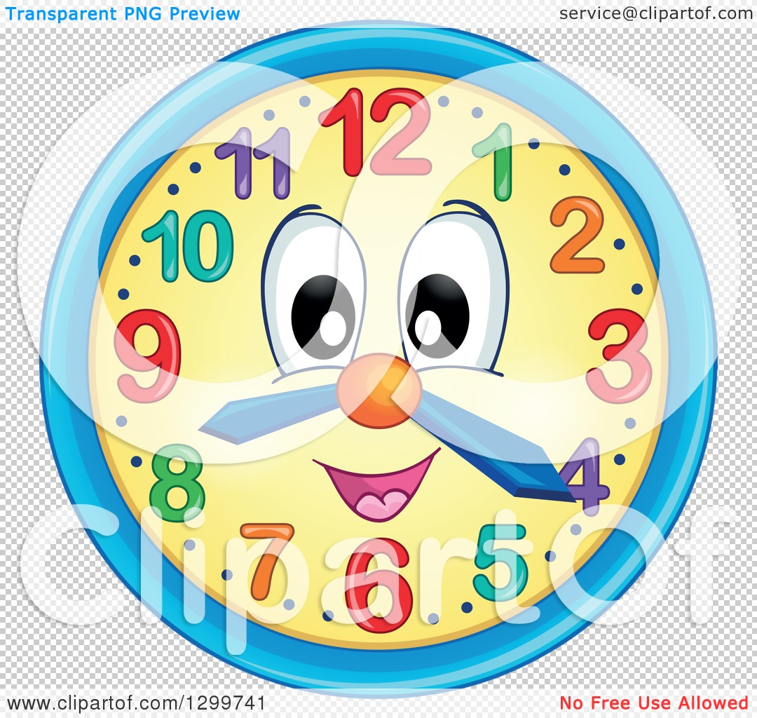Clipart of a Happy Wall Clock Character.