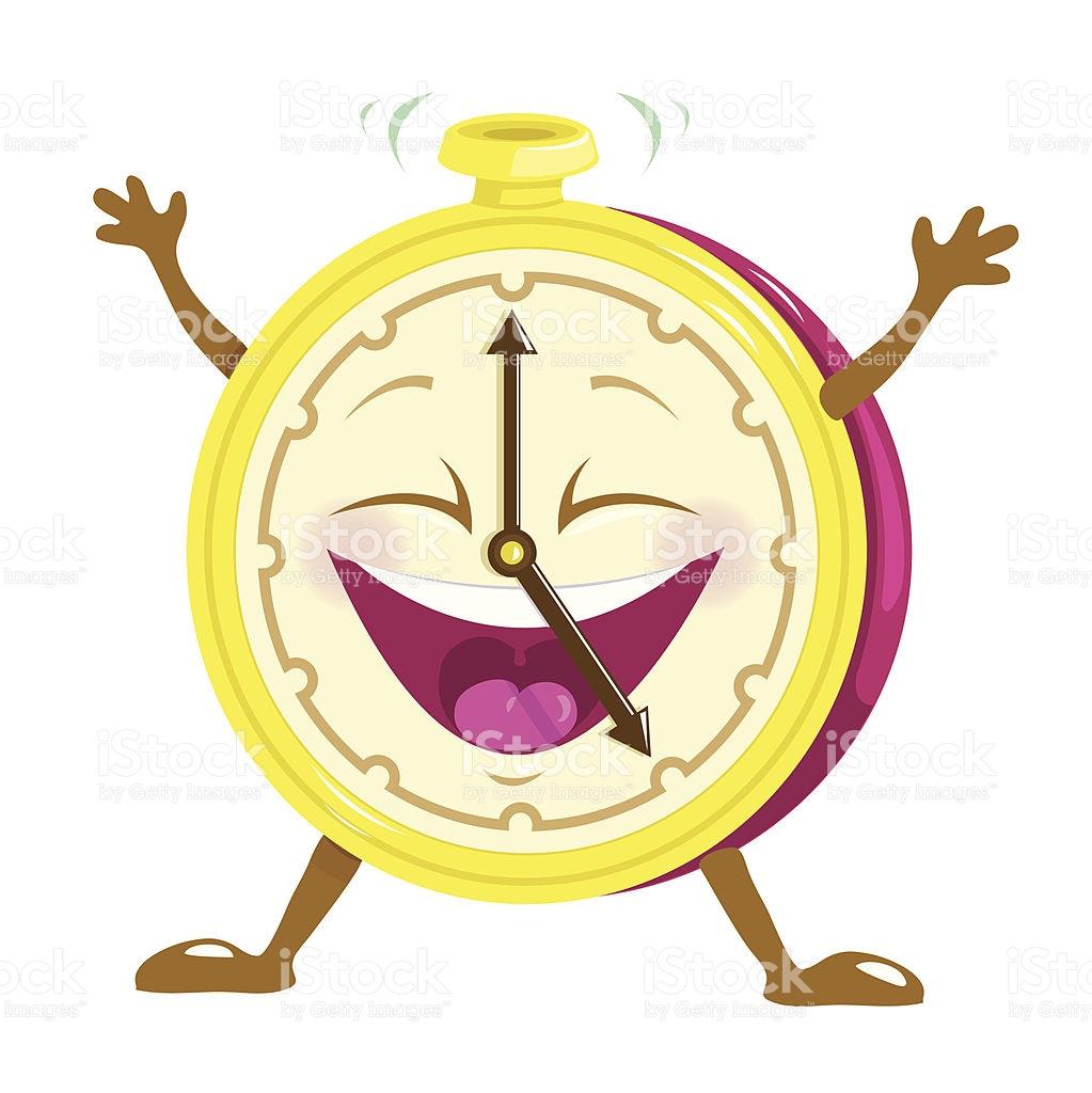 Happy Clock Character stock vector art 156769374.