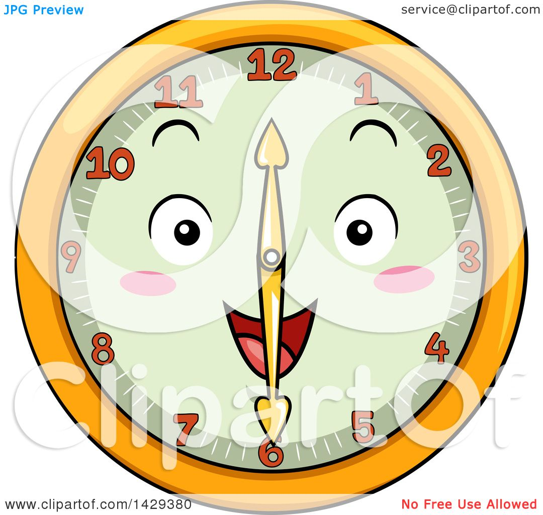 Clipart of a Happy Clock Character Showing 6.
