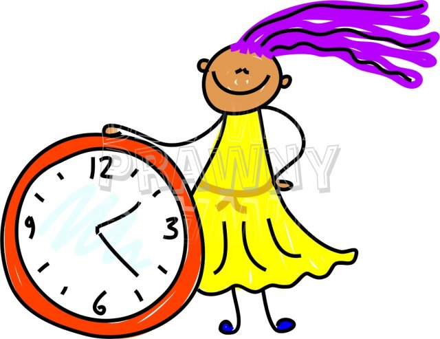 Happy Cartoon Clock Time Kid Toddler Art Prawny Clip Art.