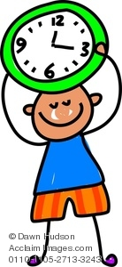 Clipart Image of A Happy Little Boy Holding A Clock.