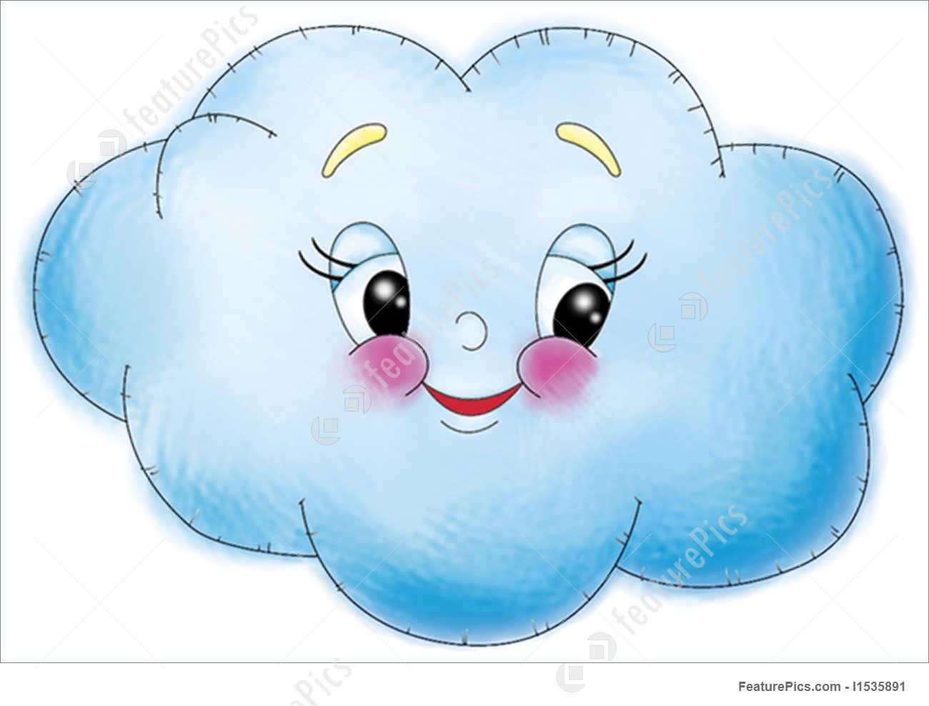 Skyscapes: A digitally rendered happy cloud.