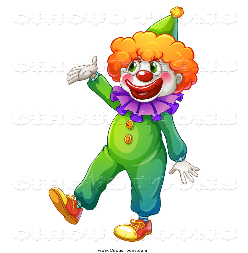 Circus Clipart of a Happy Clown Presenting by colematt.