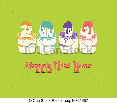 Clip Art Vector of happy new year 2014 with colour paint.