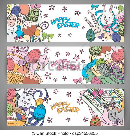 Clipart Vector of Set of creative multi colour vector banners for.