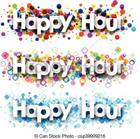 Vector Clip Art of Happy hour colour banners..