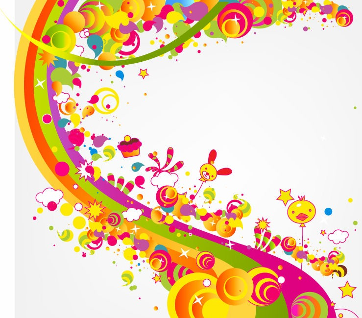 Abstract Happy Cute Rainbow Color Vector Illustration.