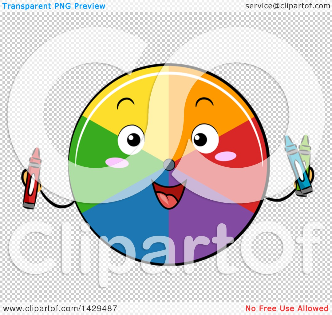 Clipart of a Happy Color Wheel Mascot Holding Crayons.