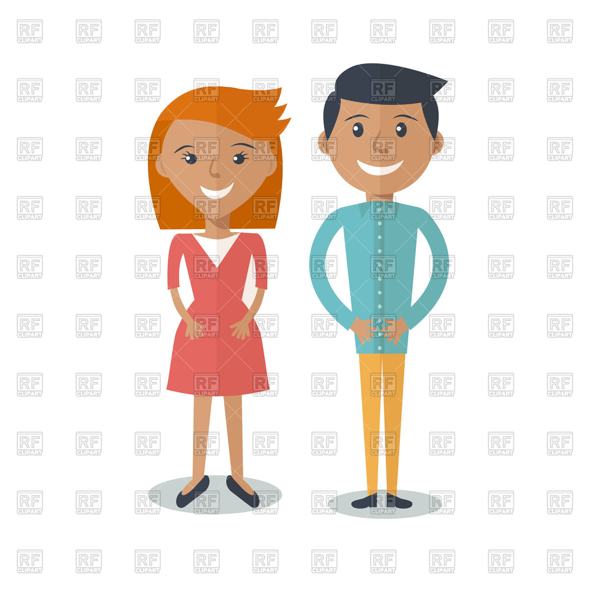 Happy smiling couple in cartoon style Vector Image #80199.