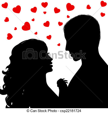 Vector Illustration of Silhouette a happy couple.