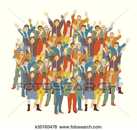 Big crowd happy people isolate on white. Clip Art.