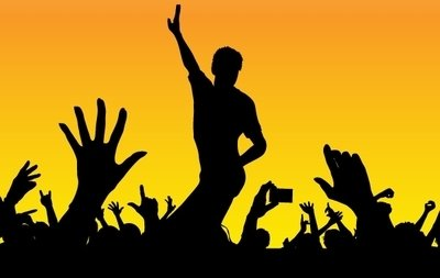 Free Silhouette Happy Concert Crowds Clipart and Vector Graphics.